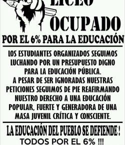 Gremio de Estudiantes del Liceo 10 ocupa el centro en defensa del 6% del PBI para la educación