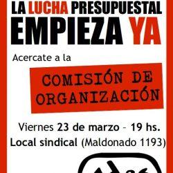 Este viernes 23 de marzo a las 19 horas COMISIÓN DE ORGANIZACIÓN. Abierta a todos los afiliados