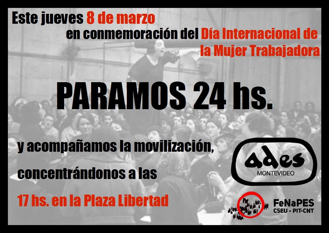 8 de marzo, Día Internacional de la Mujer Trabajadora: paro de 24 hs.