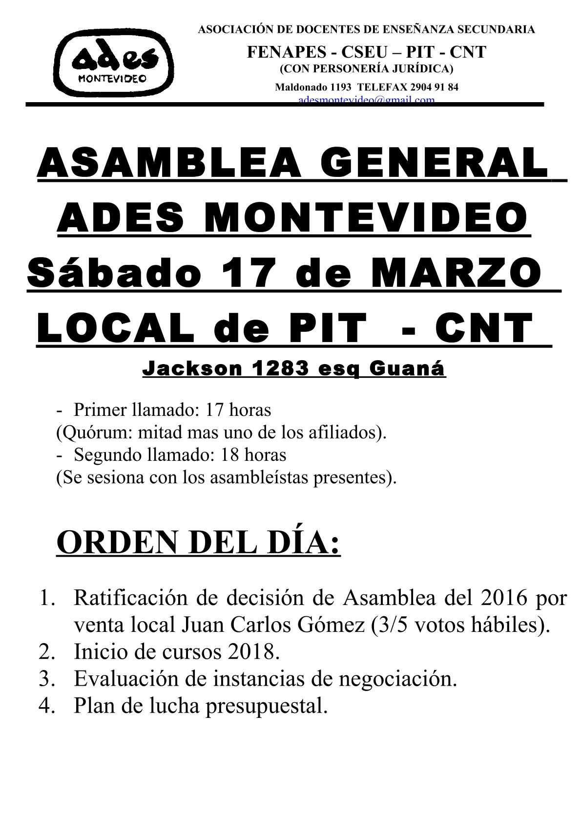 Sábado 17 de marzo: Asamblea General de ADES Montevideo