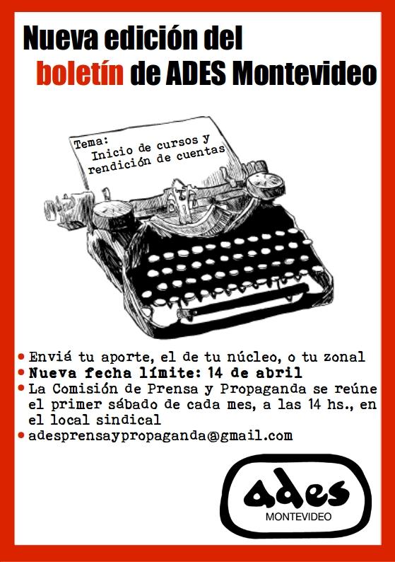 Nueva fecha límite de envío de artículos para el boletín de ADES Montevideo