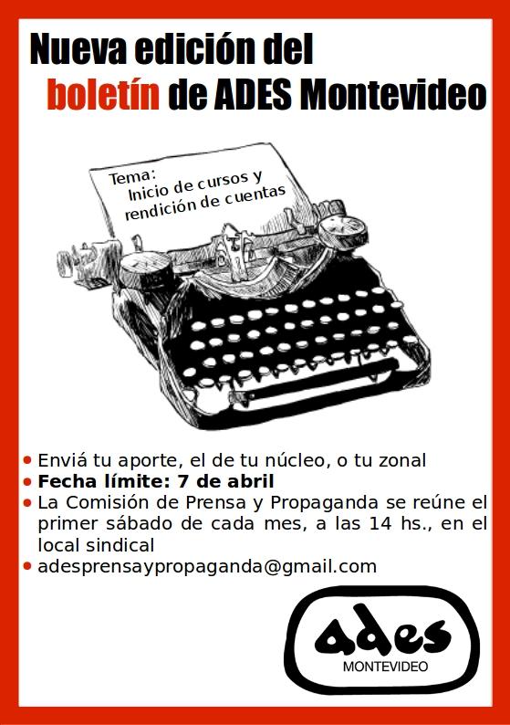 Nueva edición del boletín de ADES Montevideo