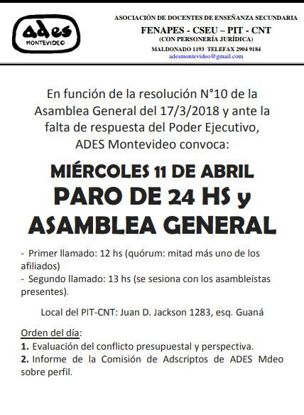 Miércoles 11 de abril: paro de 24 hs. y Asamblea General