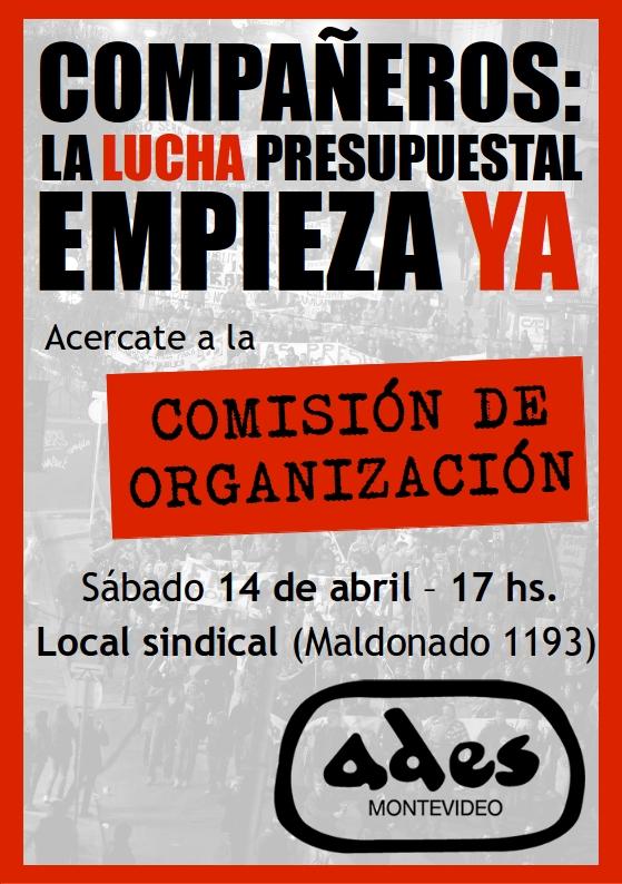 Sábado 14 de abril: reunión de la Comisión de Organización