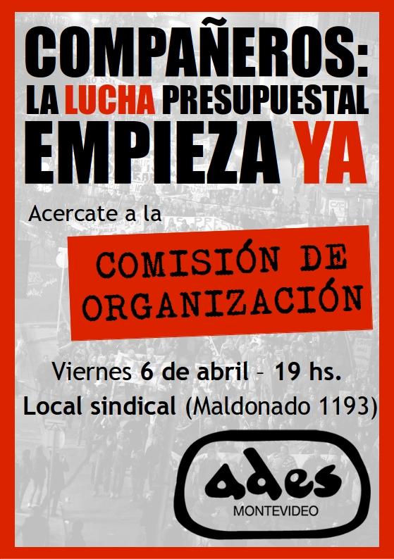 Viernes 6 de abril: reunión de la Comisión de Organización de ADES Montevideo
