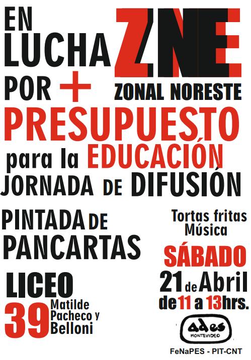 Sábado 21 de abril: jornada de difusión del Zonal Noreste