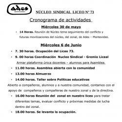 Cronograma de la ocupación del liceo 73