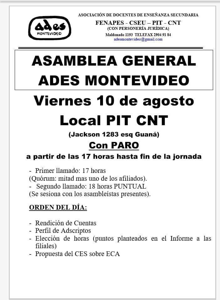 Viernes 10 de agosto: Asamblea General de ADES Montevideo