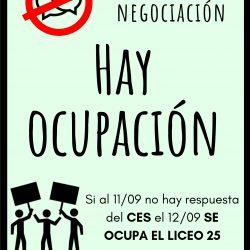 Si no hay negociación, hay ocupación. Liceo 25 ocupa el miércoles 12 por falta de respuesta de las autoridades del CES