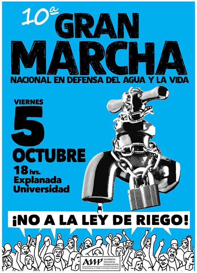 Viernes 5 de octubre: 10a marcha nacional en defensa del agua y la vida