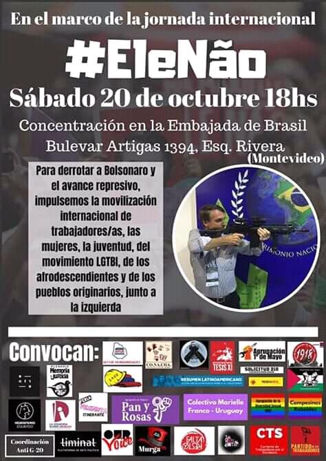 Sábado 20 de octubre: movilización en el marco de la jornada internacional #EleNão