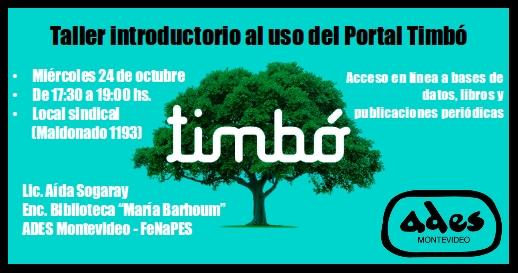 Miércoles 24 de octubre: taller introductorio al uso del Portal Timbó