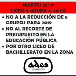 Este martes 27 de noviembre ocupa el liceo n°9 de Colón