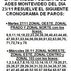 cronograma de paros zonales según resolución de última asamblea