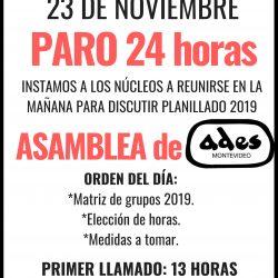 Convocatoria a Asamblea General y Paro 24 horas, viernes 23 de noviembre