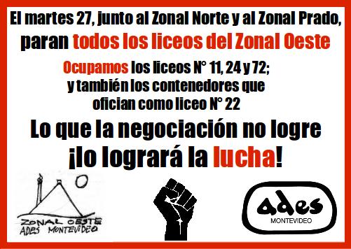 Martes 27 de noviembre: paro y ocupaciones en el Zonal Oeste