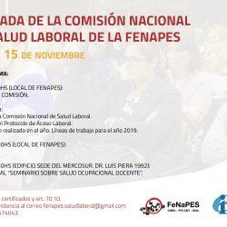 INVITACIÓN A LA TERCERA JORNADA DE LA COMISIÓN NACIONAL DE SALUD LABORAL DE LA FENAPES