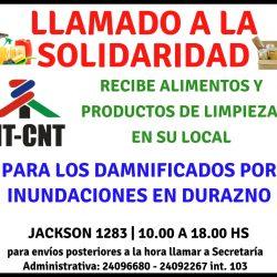 Llamado a la solidaridad | Inundaciones de Durazno | PIT-CNT