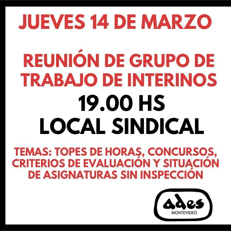 Jueves 14 de marzo: reunión del grupo de trabajo de interinos