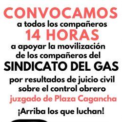 Convocatoria a apoyar a los compañeros del Sindicato del Gas