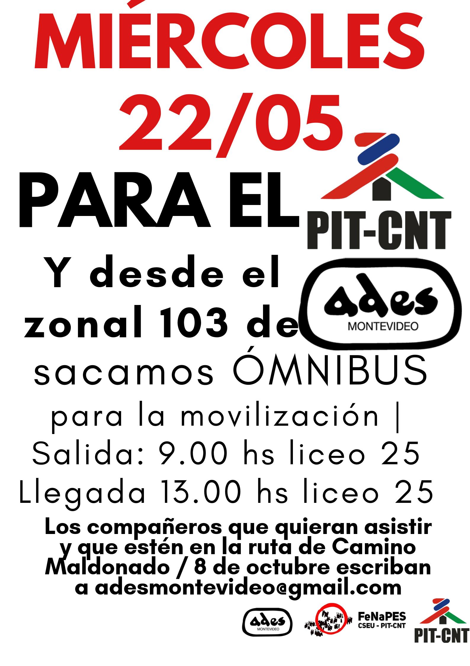 Zonal 103 de ADES Montevideo organiza transporte para la movilización en solidaridad con los compañeros de UAOEGAS