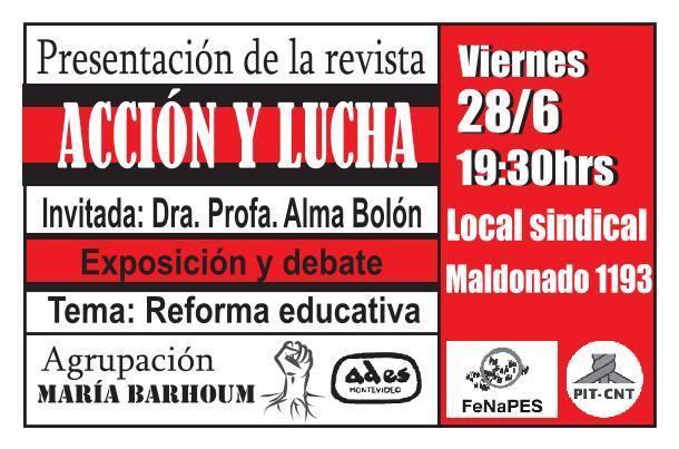 Viernes 28 de junio: presentación de la revista «Acción y lucha»