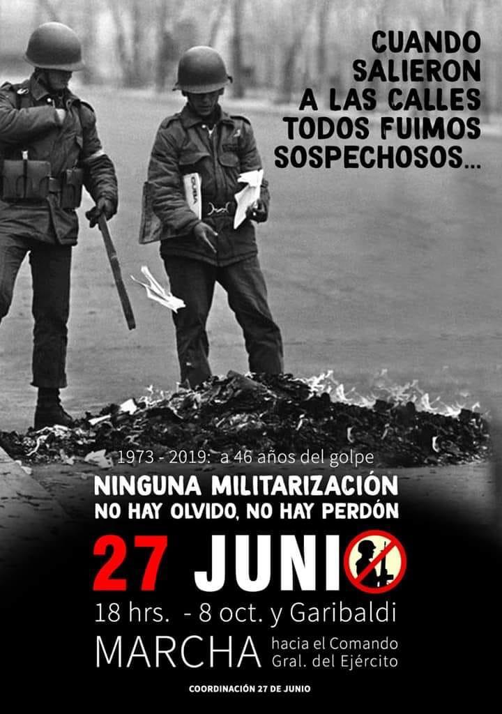 Jueves 27 de junio: a 46 años del golpe, volvemos a las calles