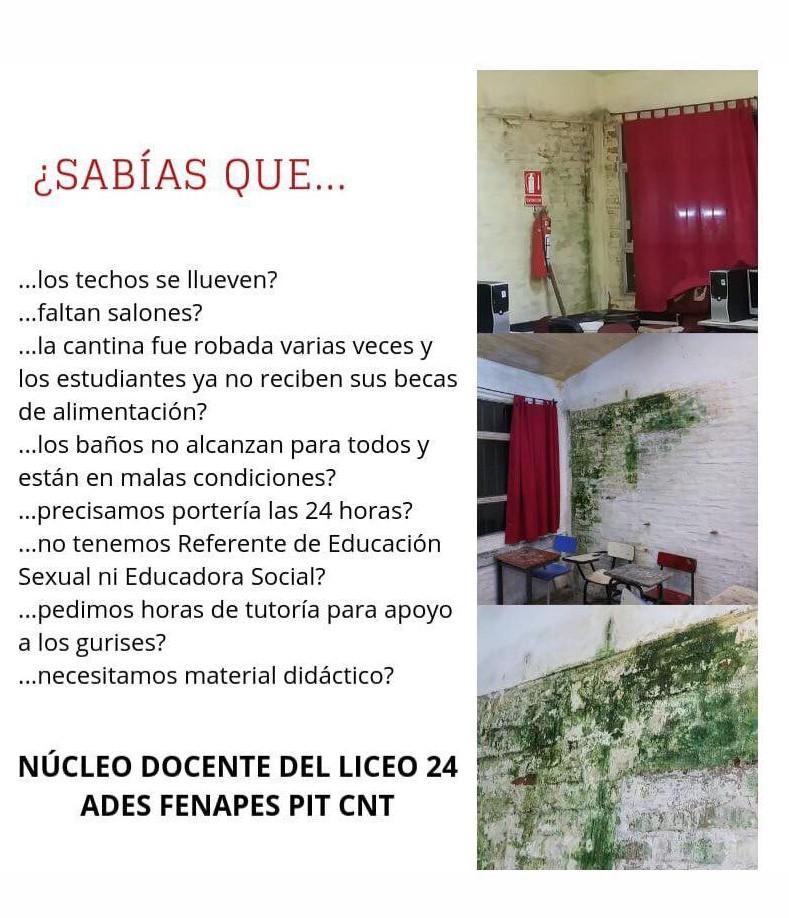 Núcleo sindical del Liceo N° 72 expresa su apoyo a la lucha del núcleo sindical del Liceo N° 24