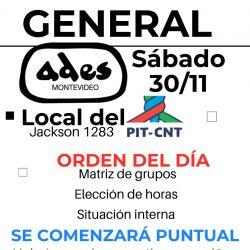 Sábado 30 de noviembre: Asamblea General de ADES Montevideo