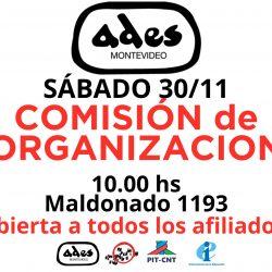 Sábado 30 de noviembre: reunión de la Comisión de Organización de ADES Montevideo