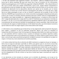 Comunicado de la Comisión Directiva sobre negociación de adscriptos