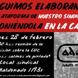 Viernes 28 de febrero: reunión de la Comisión sobre la LUC y pintada